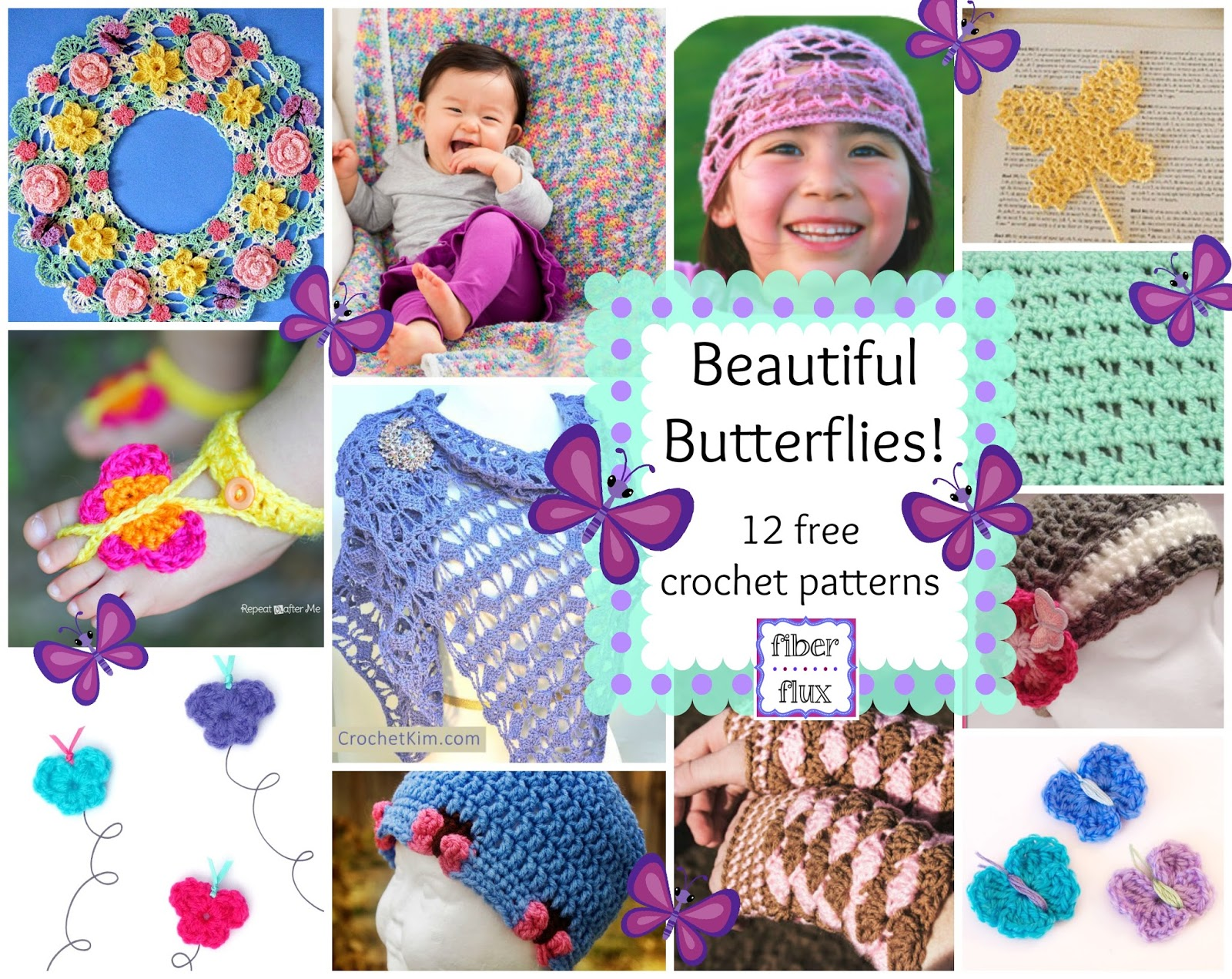 fiber flux beautiful butterflies 12 free crochet patterns