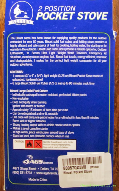 Bleuet Pocket Stove - Back Of Box