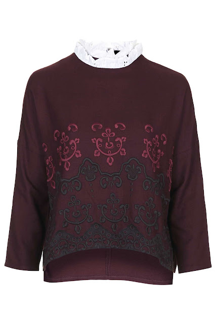 burgundy embroidered top, burgundy white collar top,