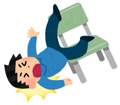 椅子から転げ落ちる人のイラスト