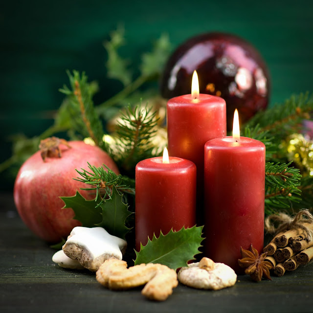 Velas y adornos navideños Feliz Navidad y Prospero Año nuevo 2013