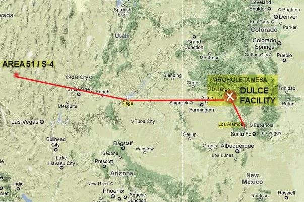 διασύνδεση της Περιοχής-51 στην Νεβάδα με την υπόγεια Βάση της Dulce στο Νέο Μεξικό