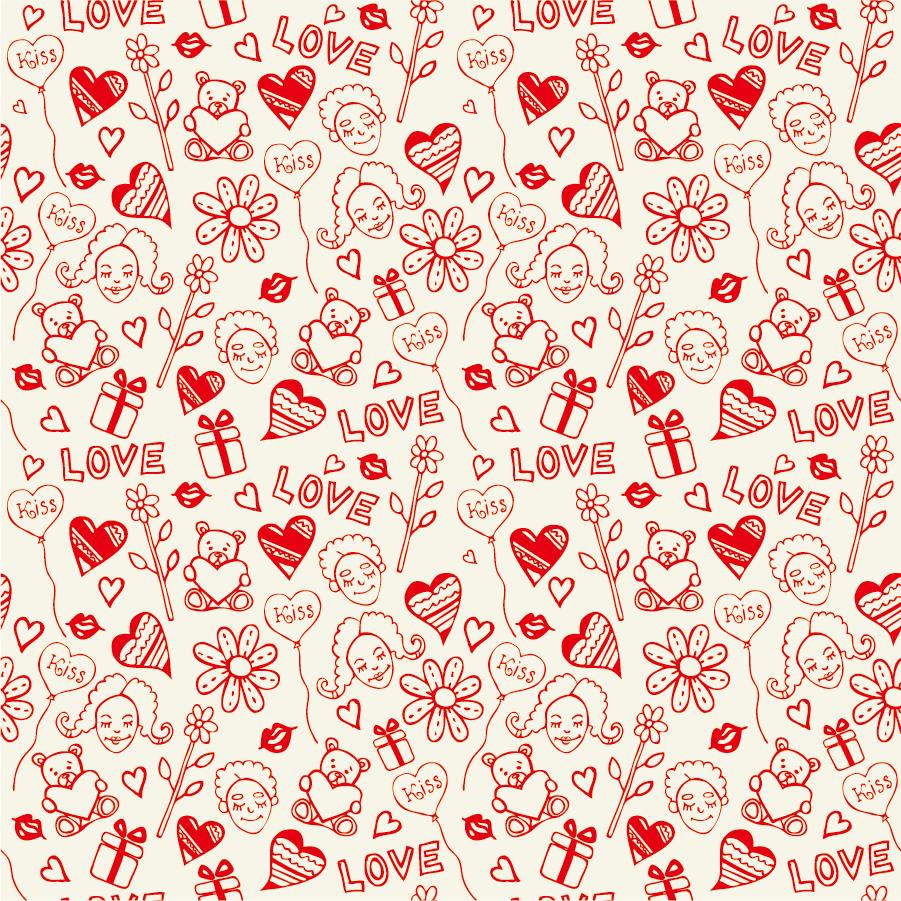 愛らしいシームレスパターンの背景 romantic love seamless pattern