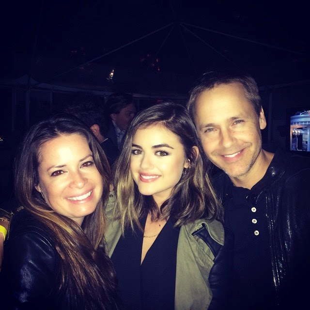 Lucy Hale with PLL costars Chad Lowe and Holly Marie Combs