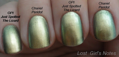 chanel peridot and opi just spotted the lizard dupe comparison