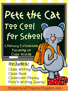 https://www.teacherspayteachers.com/Product/Pete-the-Cat-Too-Cool-for-School-Literacy-Extension-and-Home-Writing-Journal-1869552