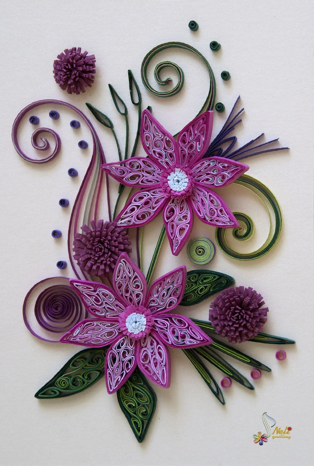 Neli quilling art quilling card purple flowers - Neli Quilling Art Quilling Card Purple Flowers