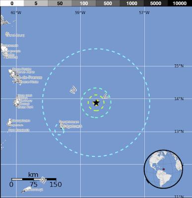 Epicentro sismo en Barbados 16 de julio 2015