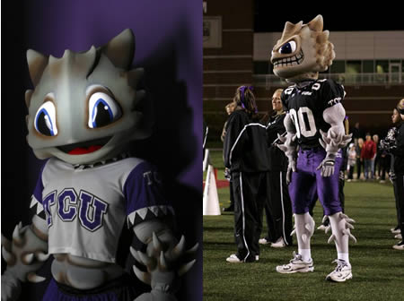 SuperFrog the official mascot of the TCU (Texas Christian University) Athletics Department