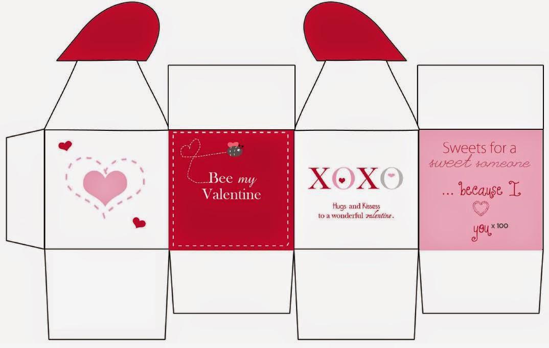Bee my Valentine: Caja con Cierre en Forma de Corazón para Imprimir Gratis.