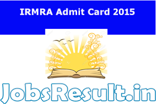 IRMRA Admit Card 2015