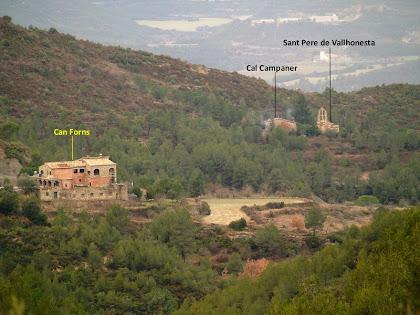 El nucli de Sant Pere de Vallhonesta amb les cases de Can Forns i Cal Campaner vist des de la zona de la Crudinella