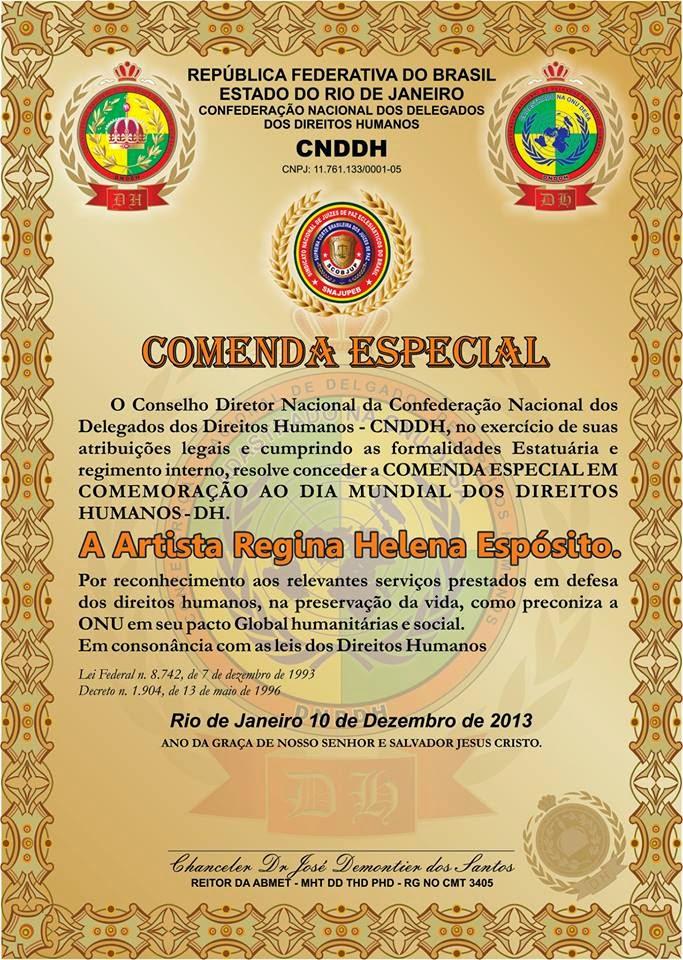 RECEBI O TITULO DE DOCTOR HONORIS EM CAUSAS ASSISTENCIA SOCIAL POR TODO BEM QUE FAÇO A HUMANIDADE!
