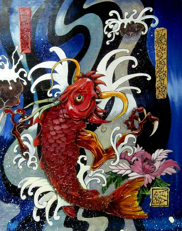 Mark richmond aka skidone art june 2012 for Live dragon koi fish