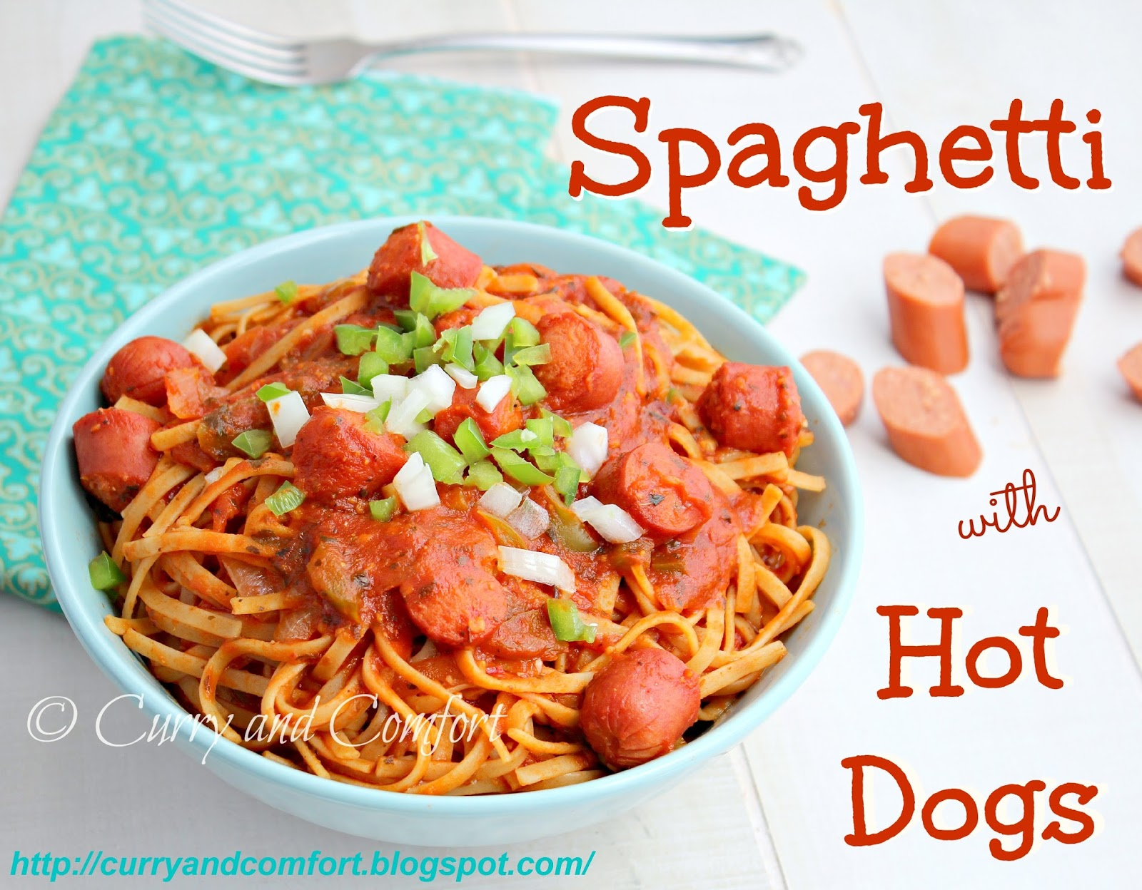 Spaghetti With Little Hot Dogs Cut Up In It