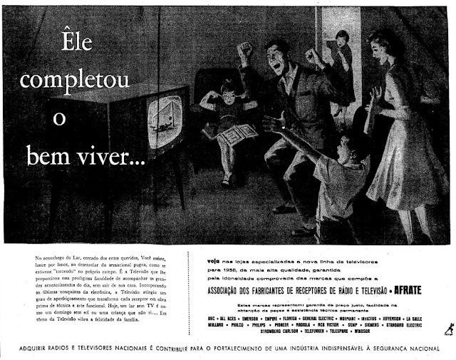 Propaganda da época em que a TV era novidade no Brasil: começo dos anos 50.