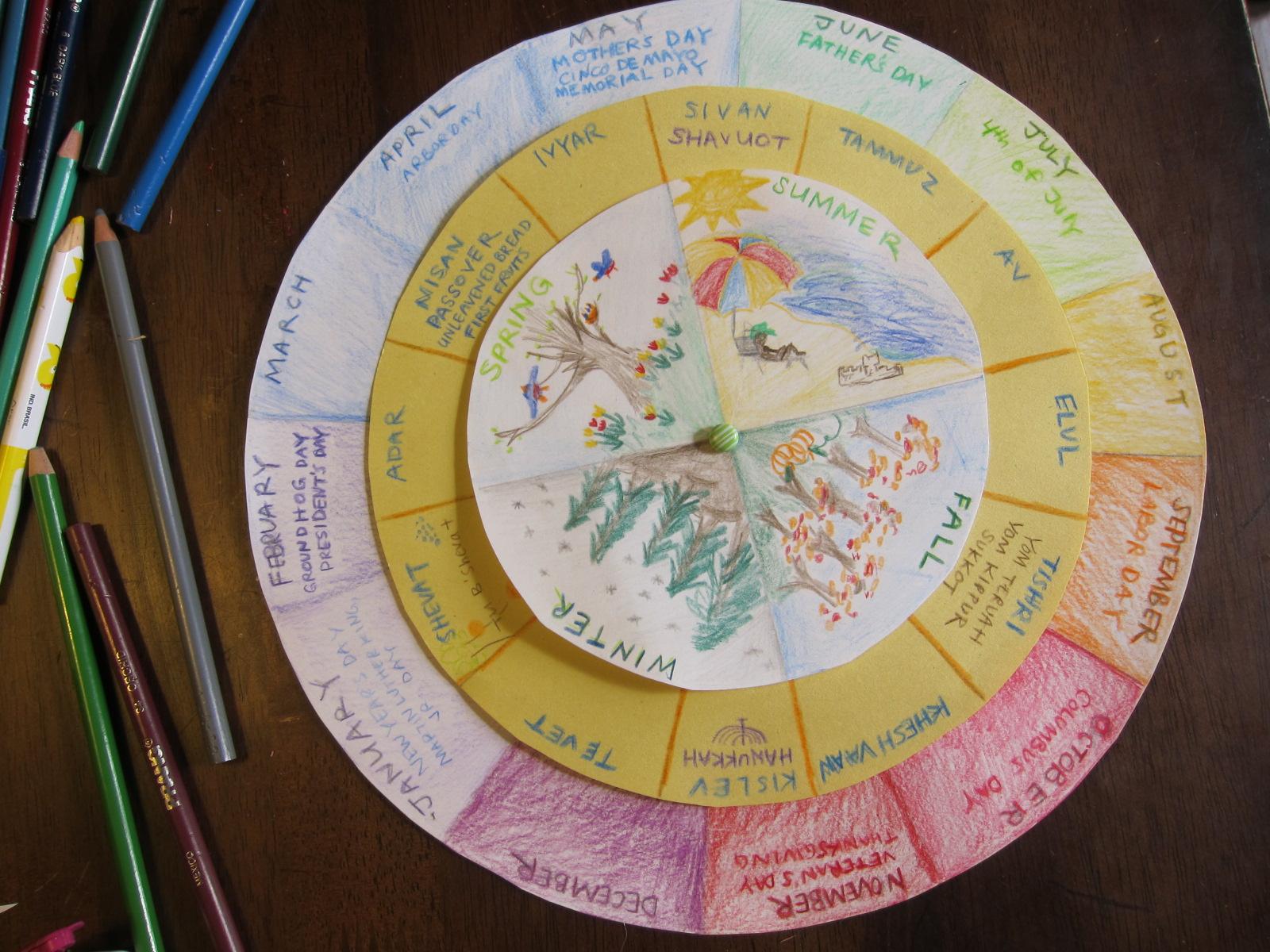 Kids Homemade Calendar : Circular perpetual calendar school house oils