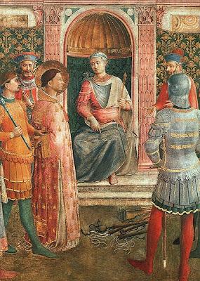 Pintura de San Lorenzo ante Valeriano Obra de Fra Angelico