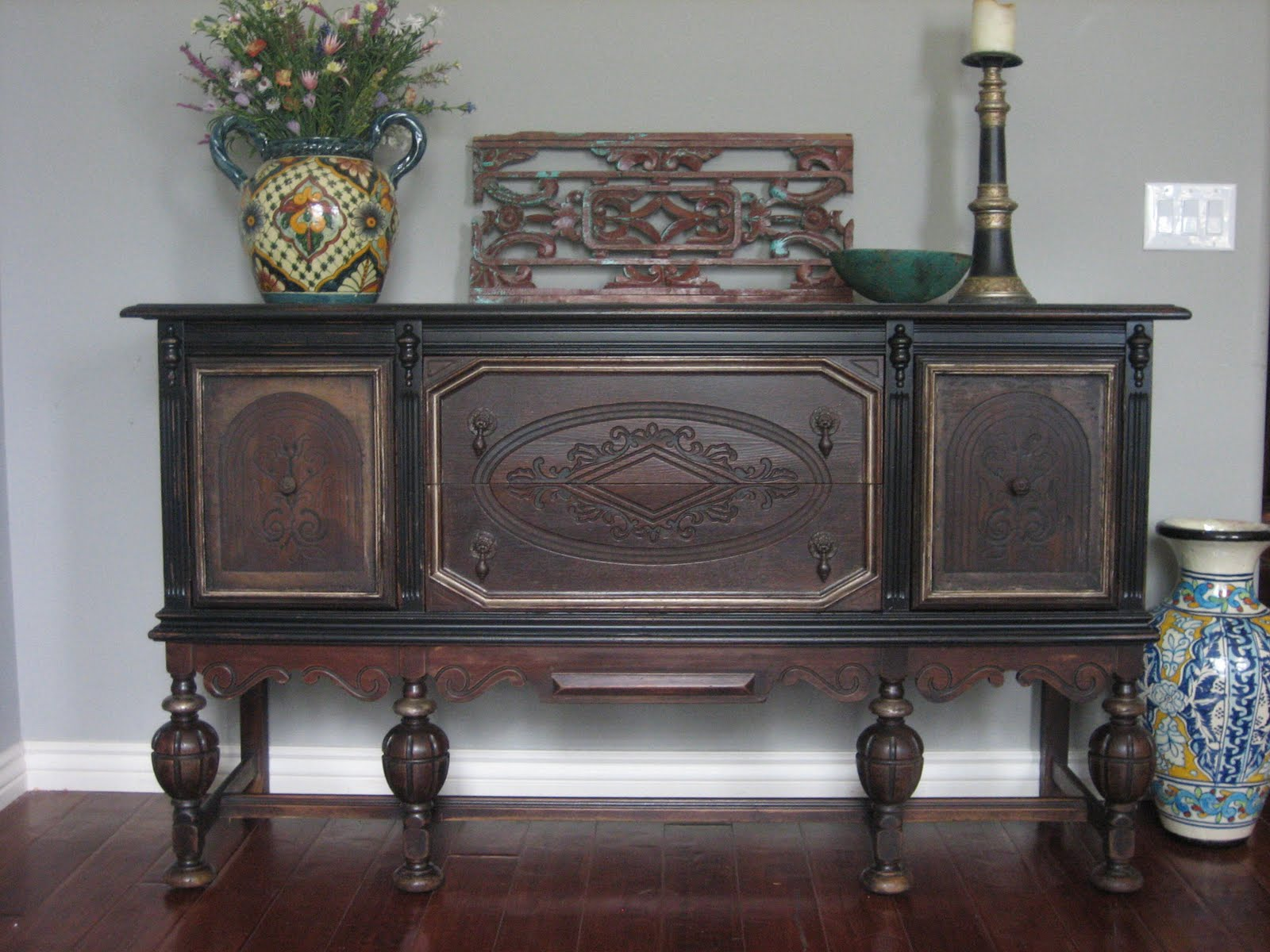 Entry Foyer Credenza : European paint finishes old world sideboard