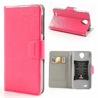 Crazy Horse Texture Leather Case Wallet with Stand for Lenovo S820 - Pink