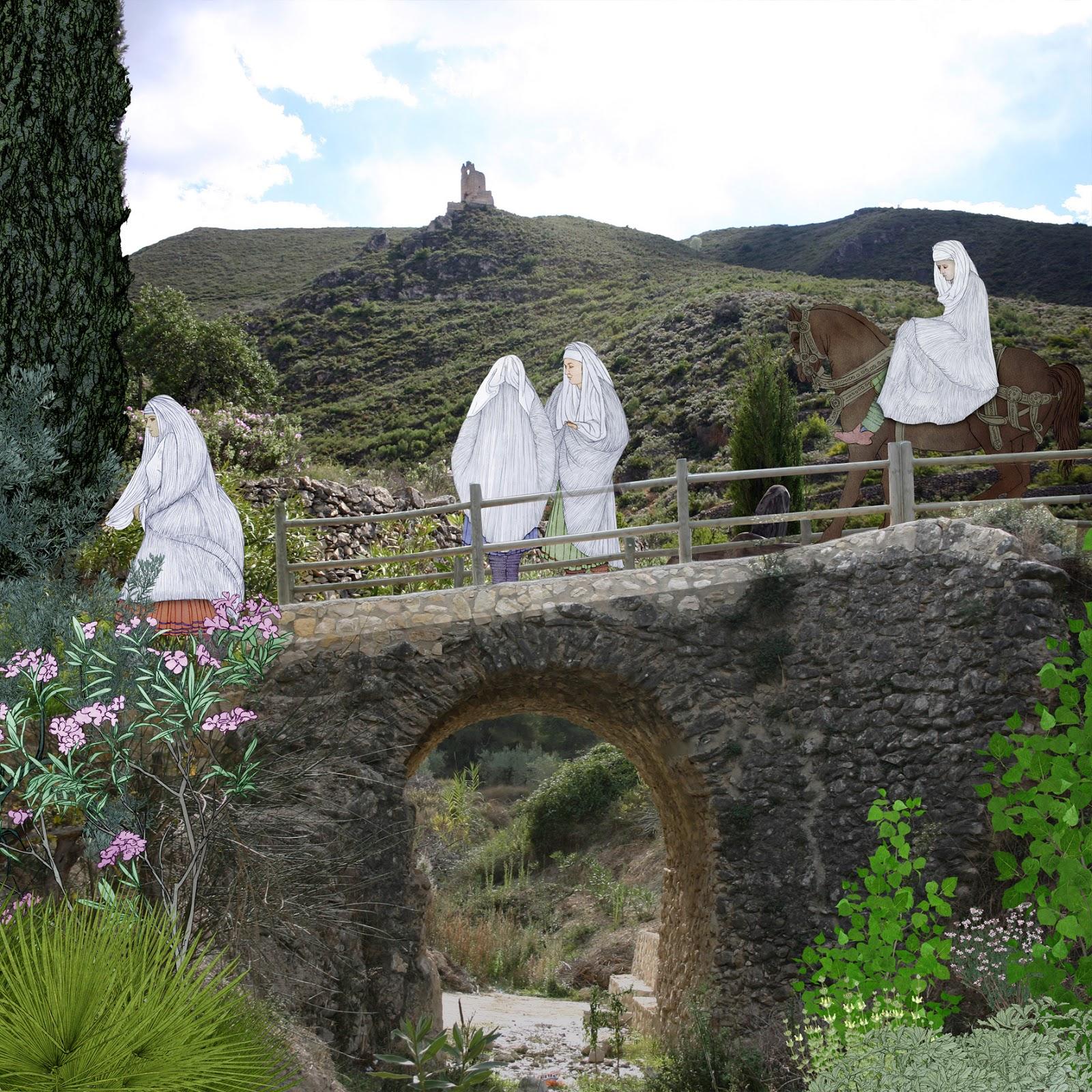 blanco, Vall de Albaida, puente de los moros, foto, dibujo
