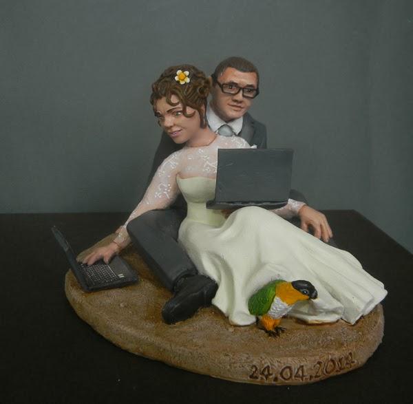 top cake topper matrimonio statuine realistiche artigianale pappagallo orme magiche