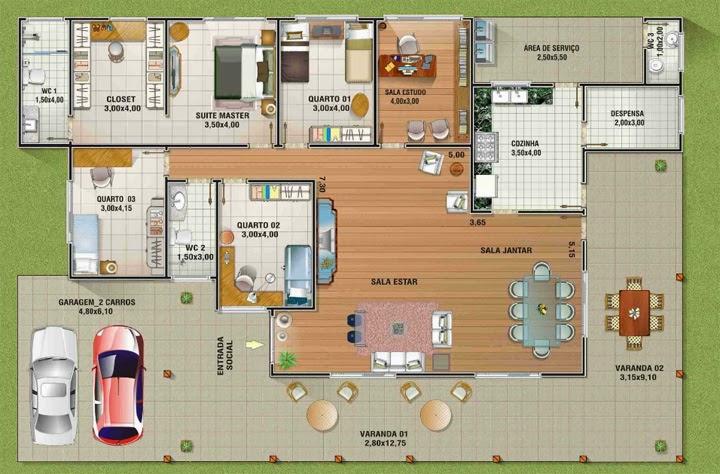 Projeto de casa com quatro quartos
