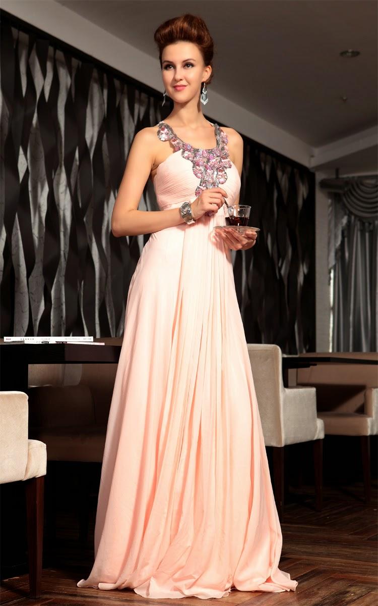 Chiffon Scoop A-line Criss Cross Back Crystals Sequins Long Prom Dress