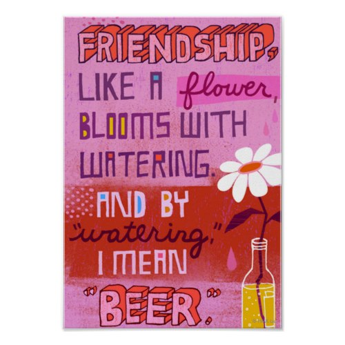 Friendship and Beer | Funny Quote Poster