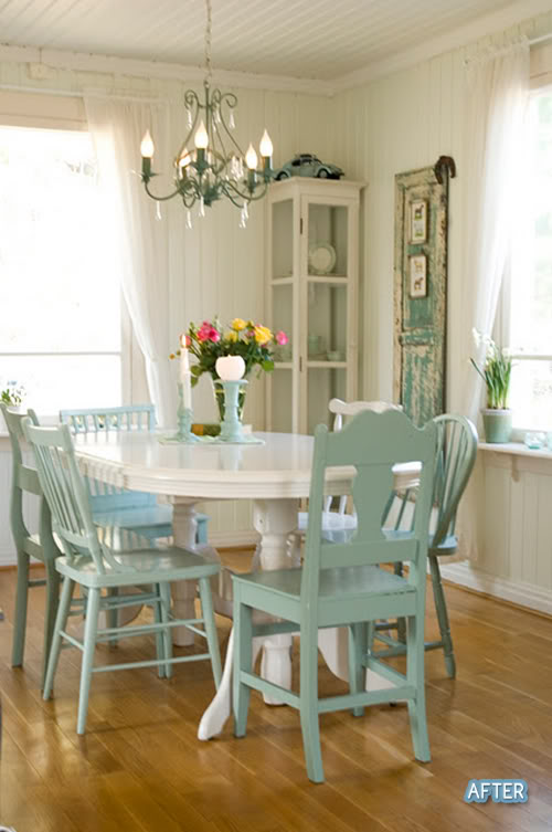 A different drum spray painting chairs - Colorful dining room tables ...