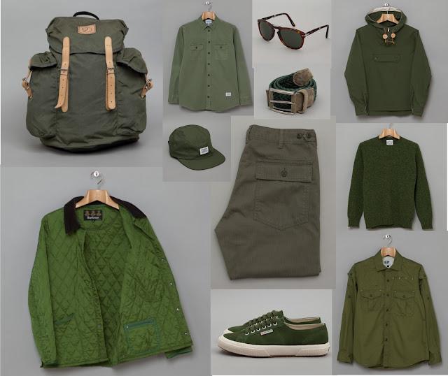 look masculino com roupas verdes