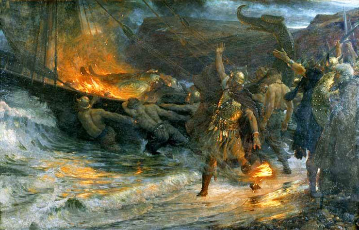 The Funeral Of A Viking 1893 By British Painter Sir Frank Bernard Dicksee 1853 1928