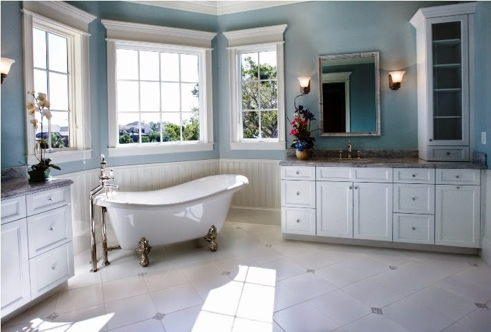 Accent wall paint ideas bathroom for Bathroom remodel color schemes