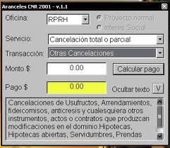 Programa para calcular aranceles del CNR