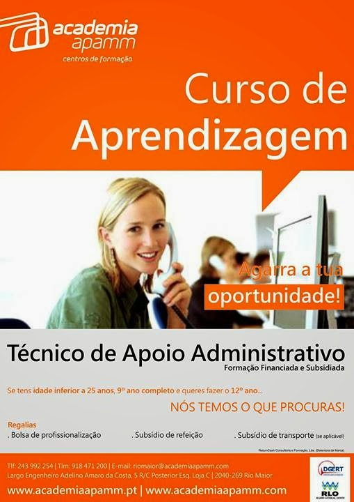 Curso financiado de Técnico de Apoio Administrativo com equivalência ao 12º ano – Rio Maior