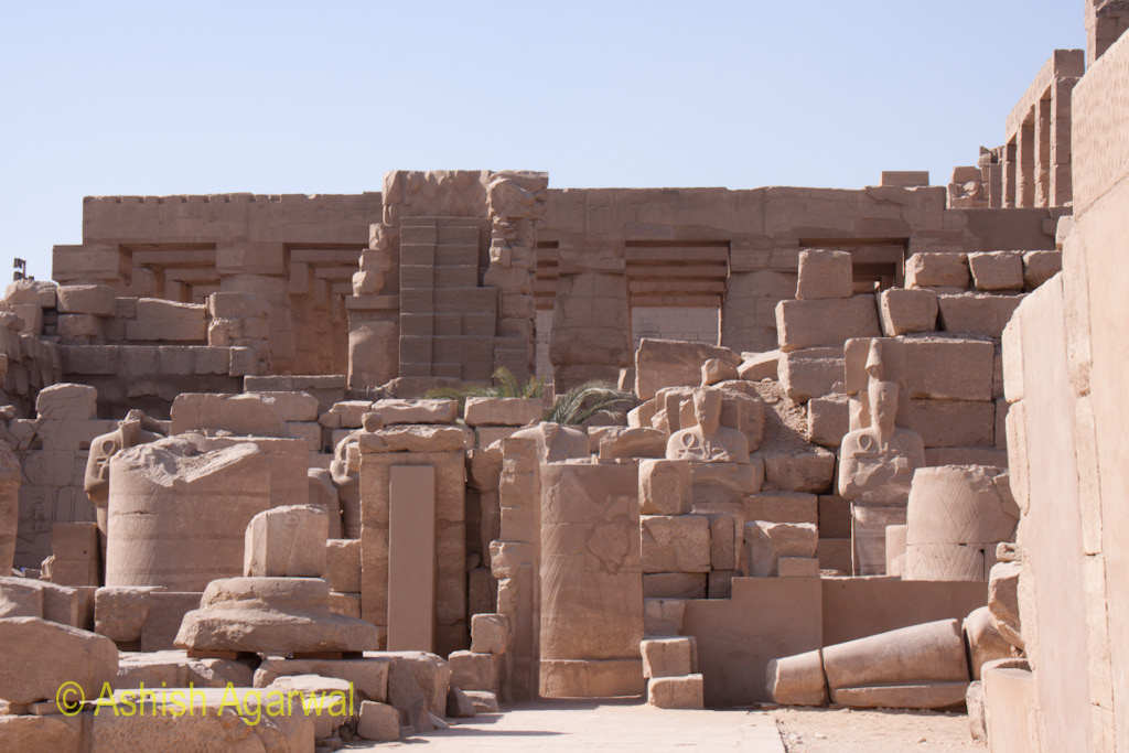 Ruins and remains at the Karnak temple in Luxor