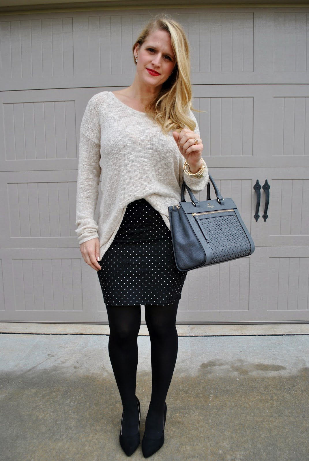 Outfit of the Day, Cozy Knit Sweater, Pencil Skirt, Kate Spade Satchel