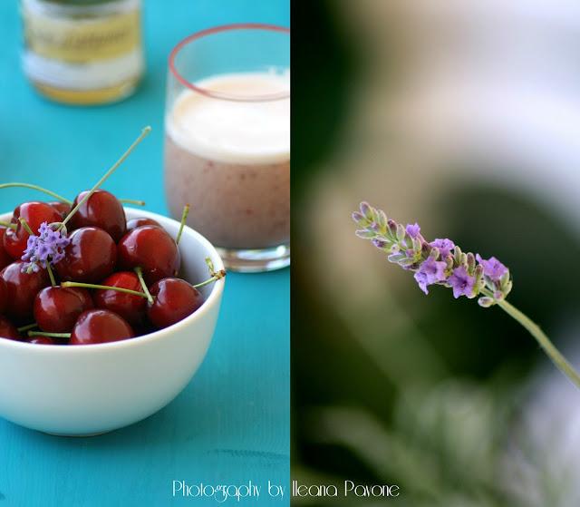 frullato di ciliegie al kamut, miele e lavanda