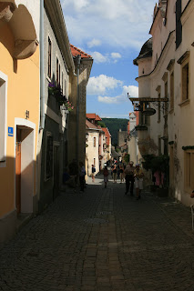 Beautiful and ancient cobblestone street in Durnstein Austria