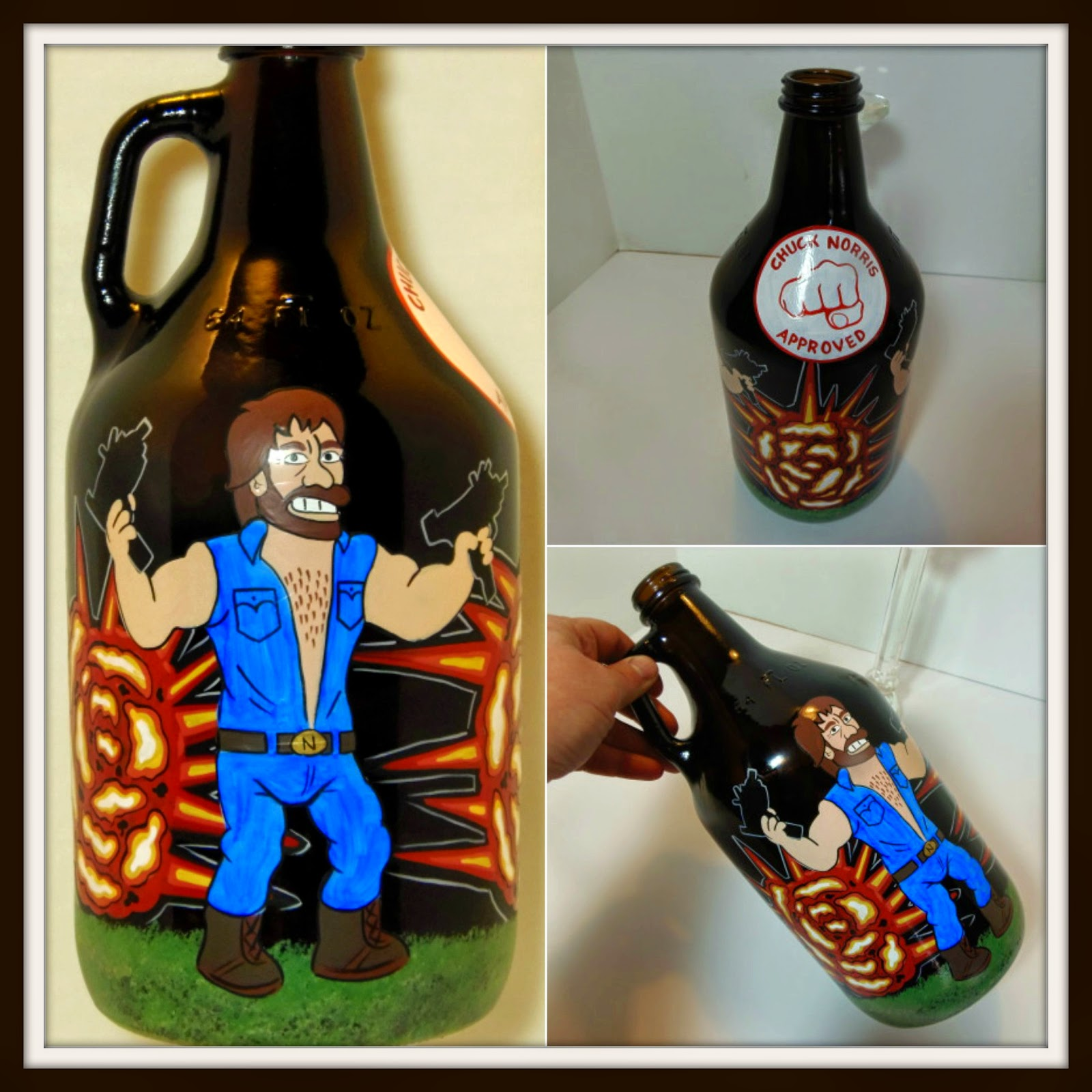 Chuck Norris custom painted growler via kudoskitchenbyrenee.com