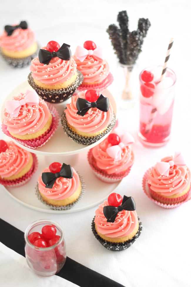 Shirley Temple Cocktail-Inspired Cupcakes