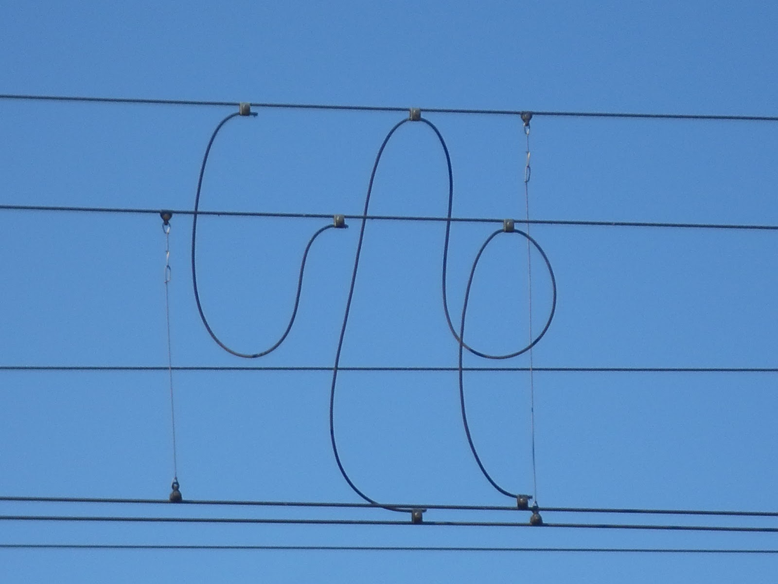 Blue skies and wires... | Mindful walking with my dogs