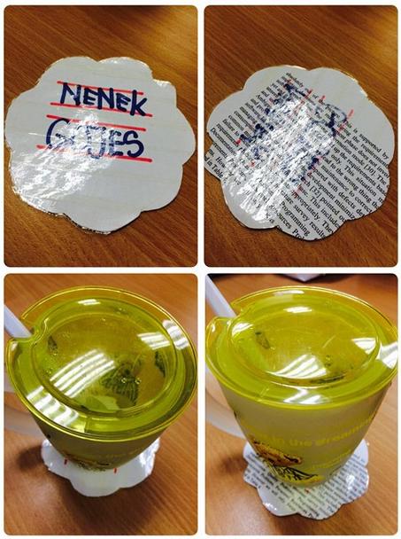 Alas Mug Menggunakan Kertas Recycle