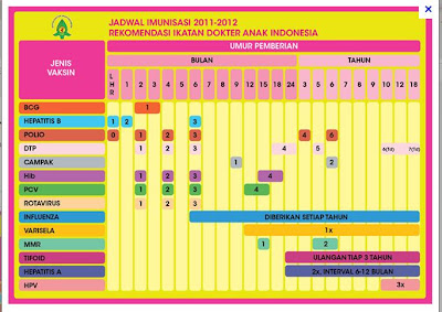 IMUNISASI dan Jadwal Imunisasi Terbaru 2011-2012 Rekomendasi Ikatan Dokter Anak Indonesia