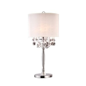 modern crystal chandelier table lamp with white shade