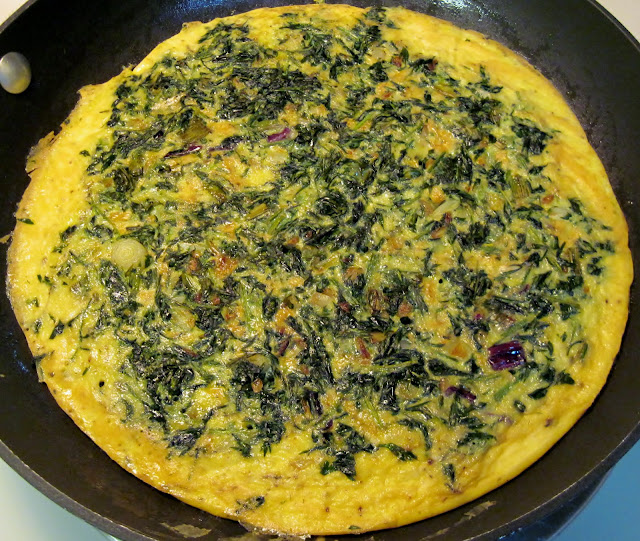 cooking carrot top frittata