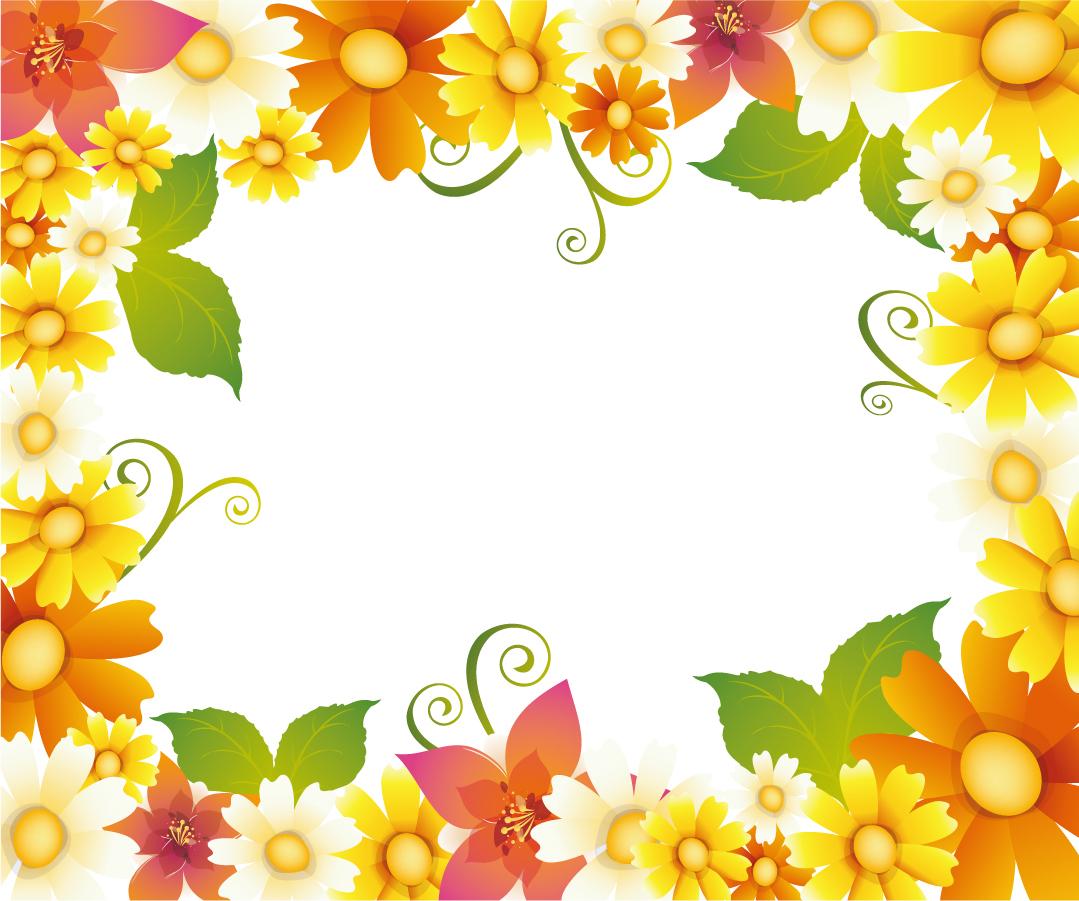 美しい花ビラで囲んだフレーム Flower Frame イラスト素材