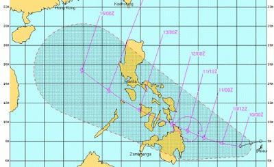 Tropisches Tief 23-W (pot. Tropensturm BANYAN) erste Vorhersage: Landfall Zentral-Philippinen als Tropischer Sturm Dienstag 11. Oktober, 2011, aktuell, Banyan, Mindanao, Oktober, Pazifik, Philippinen, Satellitenbild Satellitenbilder, Taifunsaison