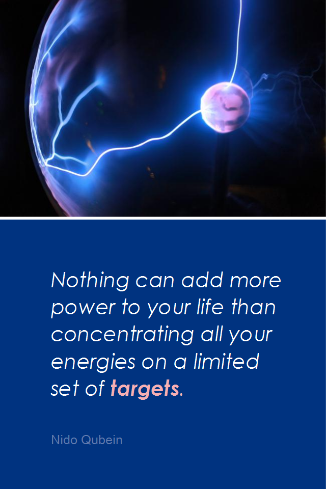 visual quote - image quotation for ENERGY - Nothing can add more power to your life than concentrating all your energies on a limited set of targets. - Nido Qubein