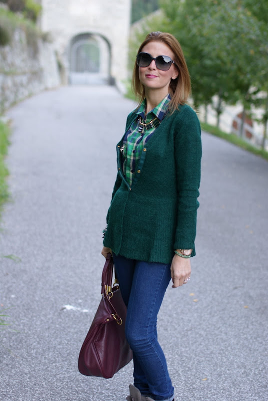 plaid print shirt, green cardigan